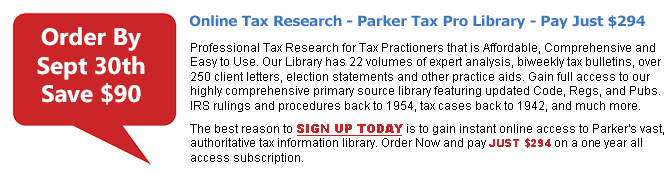 Tax Research Parker Tax Pro Library